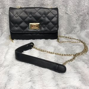 Mossimo Black Quilted Leather Crossbody Clutch